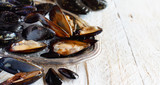 Fresh uncooked  mussels - 221970689