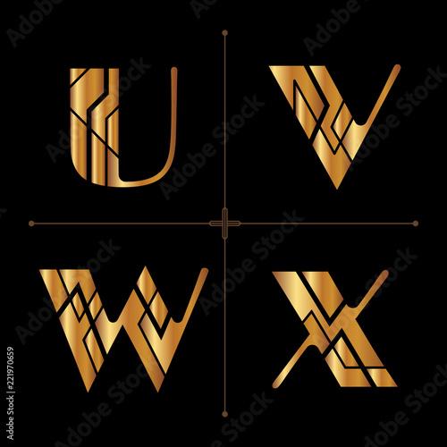 art deco alphabet design letters vintage vector (u, v, w, x)