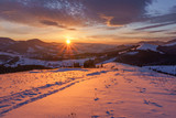 Winter sunrise in the hills mountains. - 221973074