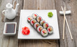 Japanese traditional sushi food and rolls with fresh seafood