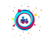 Group of people sign icon. Share symbol. Colorful button with icon. Geometric elements. Vector - 221976083