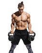 Leinwandbild Motiv Strong man doing exercises with kettlebells at biceps. Photo of young man with good physique isolated on white background. Strength and motivation.