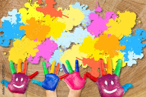 Children painting artwork concept. kids hands with colors and