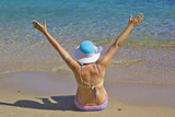 Beautiful Woman in Vrolidia Beach, Chios Island  - 221984228