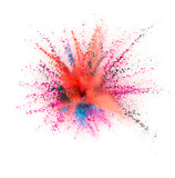 Coloured powder explosion isolated on white background - 221984484
