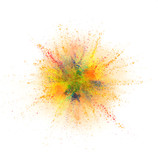 Coloured powder explosion isolated on white background - 221985014