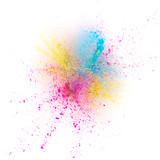 Coloured powder explosion isolated on white background - 221985062