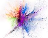 Coloured powder explosion isolated on white background - 221985082