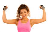 Active young sporty fit woman gesture power with her arms up isolated over white - 221986643