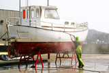 yacht boat  in shipyard  for repair and maintenance in marina port - 221989290