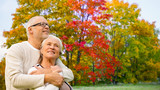 old age, love and people concept - senior couple over autumn park background - 221990066