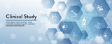 Medical Healthcare Icons with People Charting Disease or Scientific Discovery Header Banner