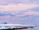 A beautiful winter evening on the Atlantic coast. A traditional view of Maine. USA.