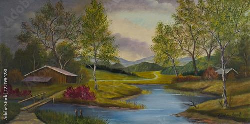 Leinwanddruck Bild Hügelige Landschaft mit Scheunen und einem Fluß