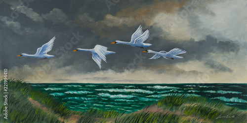 canvas print picture Vier Zugvögel fliegen an der Küste über dem Meer