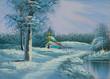 Leinwanddruck Bild - Verschneite Winterlandschaft mit Fluß und Kapelle