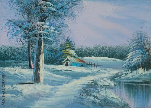Leinwanddruck Bild Verschneite Winterlandschaft mit Fluß und Kapelle