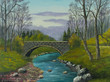 Leinwanddruck Bild - Alte Steinbrücke über einem kleinen Flußlauf