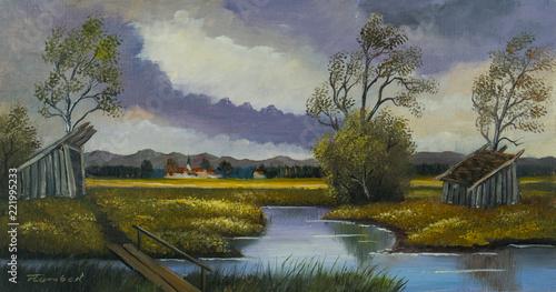 Sticker Landschaftsbild mit einem Fluß und Holzbrücke