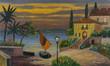 Leinwanddruck Bild - Seegelboot und Haus am See in der Abenddämmerung