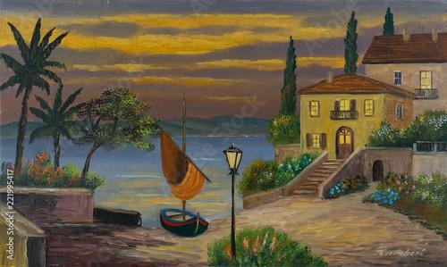 Leinwanddruck Bild Seegelboot und Haus am See in der Abenddämmerung