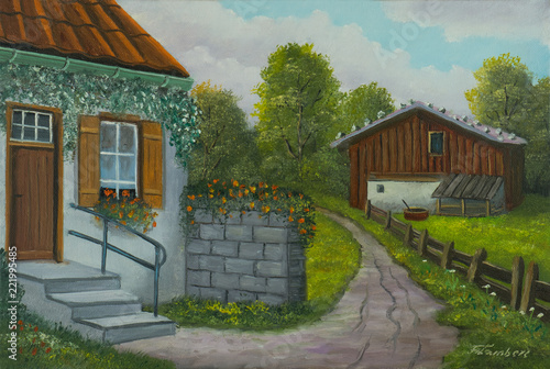 Leinwanddruck Bild Weg zu einem Haus mit einer Eingangstreppe