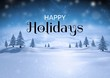 Happy holidays text with Winter snow landscape