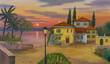 Leinwanddruck Bild - Haus am See mit schwarzer Laterne im Vordergrund