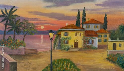 Leinwanddruck Bild Haus am See mit schwarzer Laterne im Vordergrund