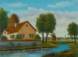 Leinwanddruck Bild - Haus am Fluß in der nähe von einem kleinen Ort