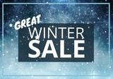 Winter Sale Text on blue rectangle and snowflakes in background - 221995851