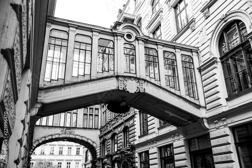 Fridge magnet Ornamental bridges between buildings in Nekazanka Street, Prague. Black and white image.