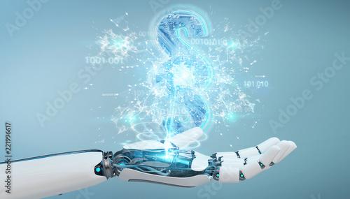 Leinwanddruck Bild Cyborg judge using 3D rendering digital paragraph law symbol