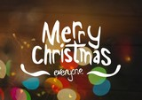 Merry Christmas text with magical lights - 221997447