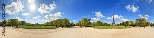 Beautiful 360 degree panorama in spring with a blue sky of the Eiffel tower in Paris, France - 222000289