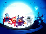 Halloween Kids Costume Party. Group of kids in Halloween costume jumping in the moonlight.  - 222001898