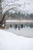 Decaying wooden piers in winter lake - 222002241