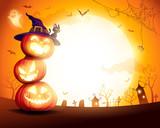 Halloween Pumpkin Pile. Stacked pumpkins in the moonlight. Jack O Lantern.  - 222003048