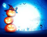 Halloween Pumpkin Pile. Stacked pumpkins in the moonlight. Jack O Lantern.  - 222003049