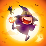 Cute Little Witch. Girl kid in Halloween costume jumping in the moonlight. - 222003085
