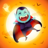 Cute Little Dracula Vampire. A kid in Halloween costume jumping in the moonlight.  - 222003201
