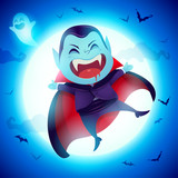 Cute Little Dracula Vampire. A kid in Halloween costume jumping in the moonlight.  - 222003211