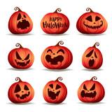 Set pumpkins of Halloween. A variety of pumpkins for Halloween design. Collection of Halloween pumpkins. - 222003475