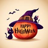 Halloween pumpkin. Jack O Lantern Pumpkin with witch hat. - 222003815