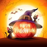 Halloween pumpkin. Jack O Lantern Pumpkin with witch hat in the moonlight. - 222003895