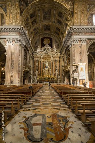 Gesu Nuovo interior church in Naples, Italy - 222007065