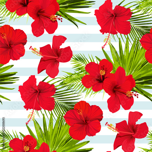 Hibiscus flower vector seamless pattern on a blue stripes background flowered tropical textures © Лилия Судакова