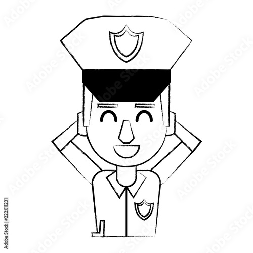 Police profile cartoon sketch - 222011231