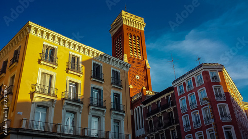 Foto Murales Colorful historic district of Madrid, Spain