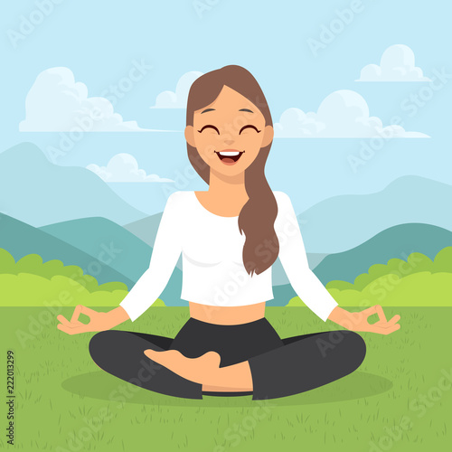 Poster Girl doing yoga meditation isolated on white background. Young woman making meditation in lotus pose. Meditation yoga outdoor. Vector